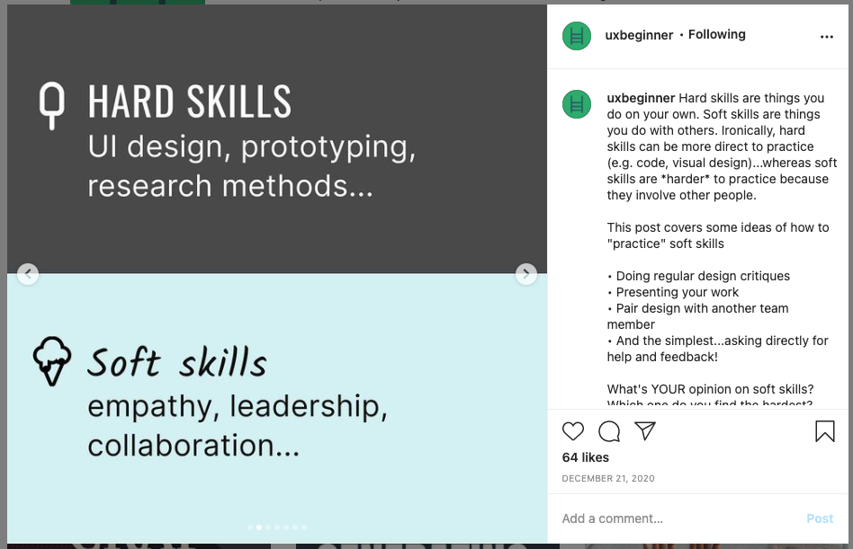 """screenshot of slide #2 of Instagram post with text reading """"Hard skills: UI design, prototyping, research methods... Soft skills: empathy, leadership, collaboration..."""""""