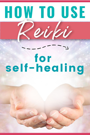 Text: How To Use Reiki For Self Healing; Image: Reiki hands holding light