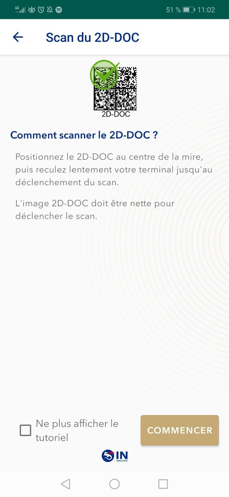 capture d'écran de l'application TousAntiCovid Verif lors du scan d'une preuve sanitaire