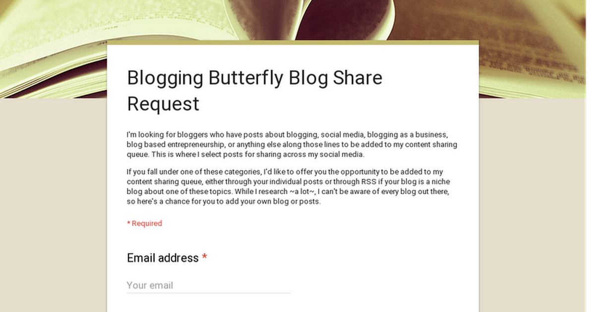 Blogging Butterfly Blog Share Request