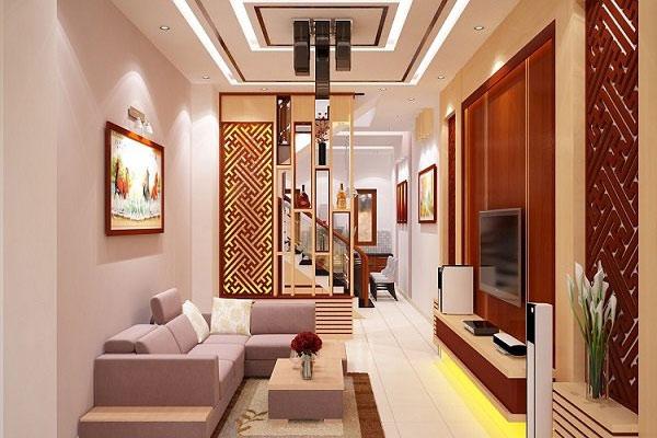 vách ngăn gỗ phòng khách và bếp có độ bền cao