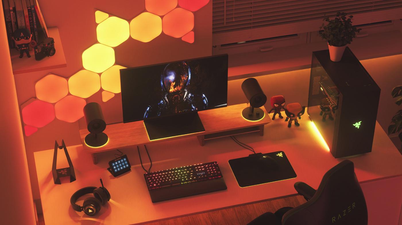 Razer Battlestation with Nanoleaf Shapes RGB light panels