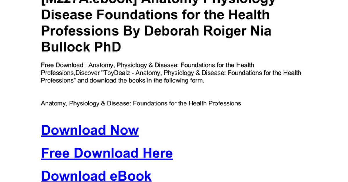 Atemberaubend Anatomy Physiology And Disease For The Health ...