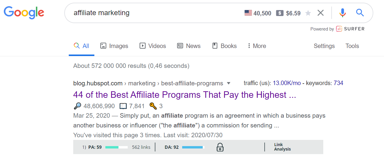 Google search results for affiliate marketing