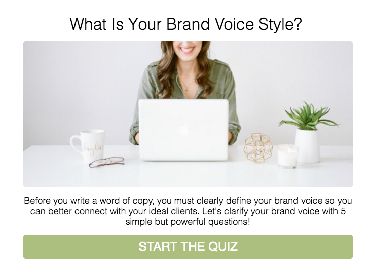 What's your brand voice style quiz cover