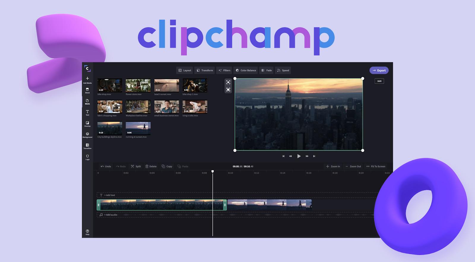 Clipchamp interface