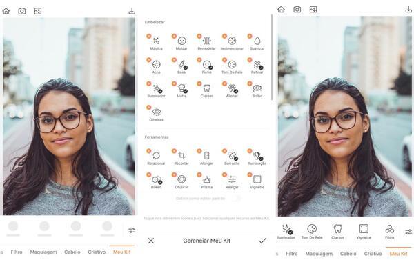 Foto de uma mulher na rua usando óculos de grau sendo editada pelo AirBrush