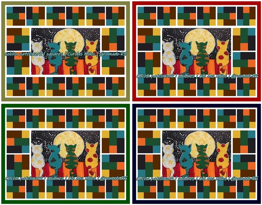 A Colcha Patchwork Gatos - Cia das Mãos Patchwork faz parte da coleção desejos, a ser realizada num futuro muito próximo, conforme se concretizem as vendas. Encomende a sua colcha patchwork no tamanho necessário, casal, queen ou king.
