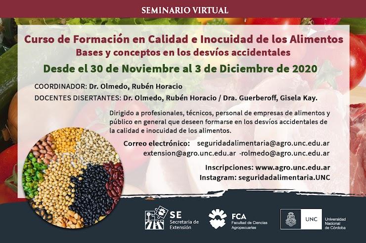 Curso de formación en calidad e inocuidad de los alimentos: bases y conceptos en los desvíos accidentales