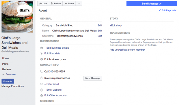 Where to add a longer description of your business on your Facebook Page