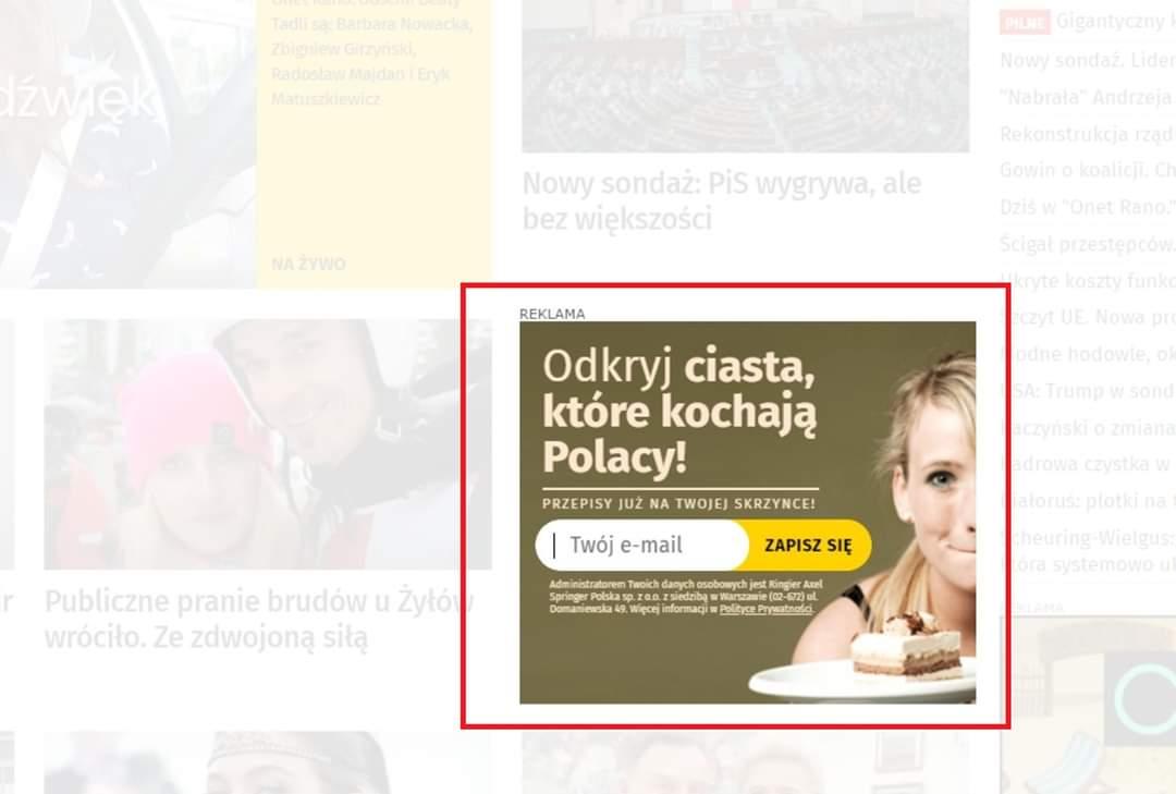 Przykład reklamy newslettera