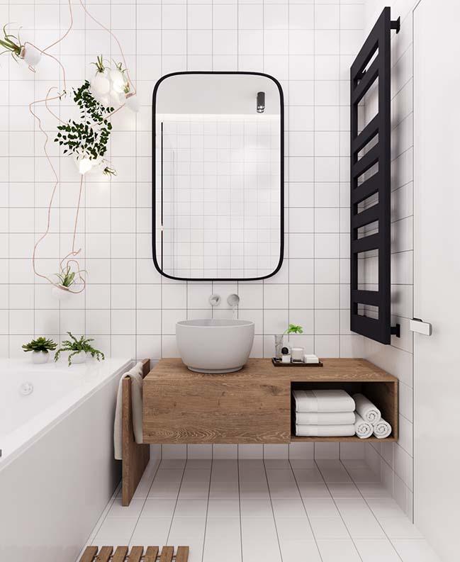 Nội thất phòng tắm trong bản vẽ thiết kế nhà ống 3 tầng