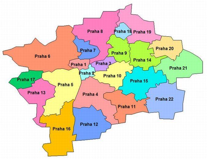 22 административных округа Праги