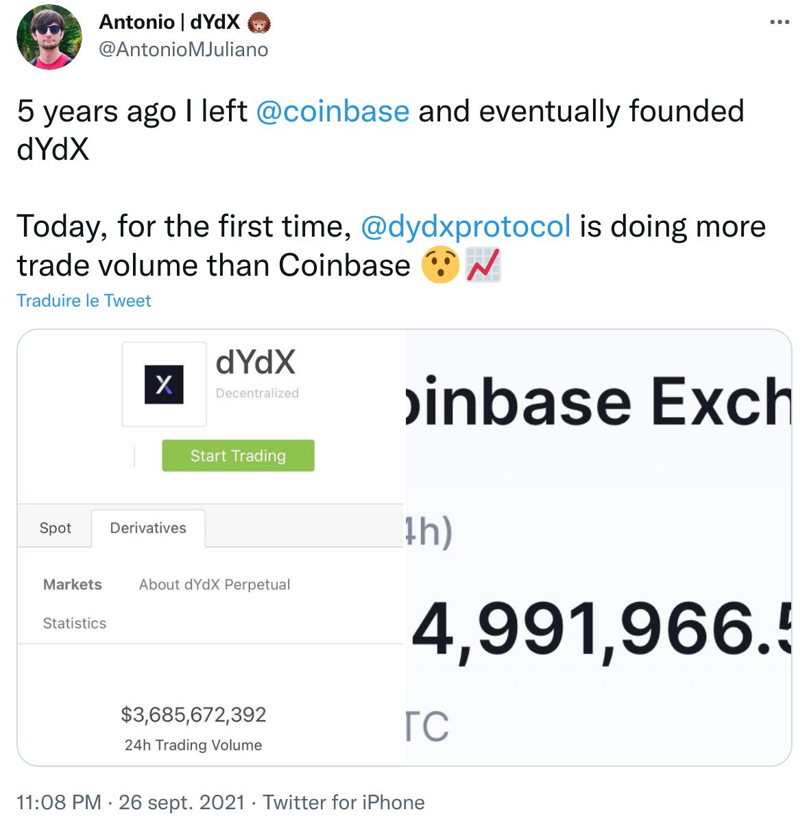 Publication Twitter d'Antonio Juliano annonçant que dYdX enregistre plus de volume d'échange que Coinbase