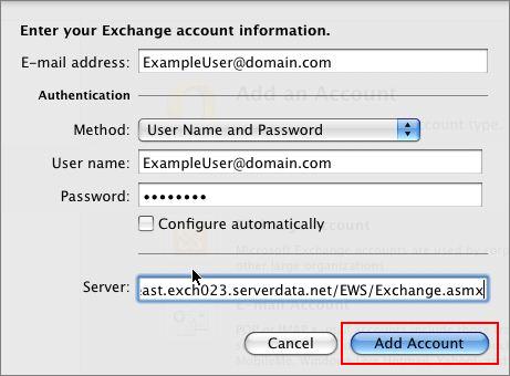 Exchange account info