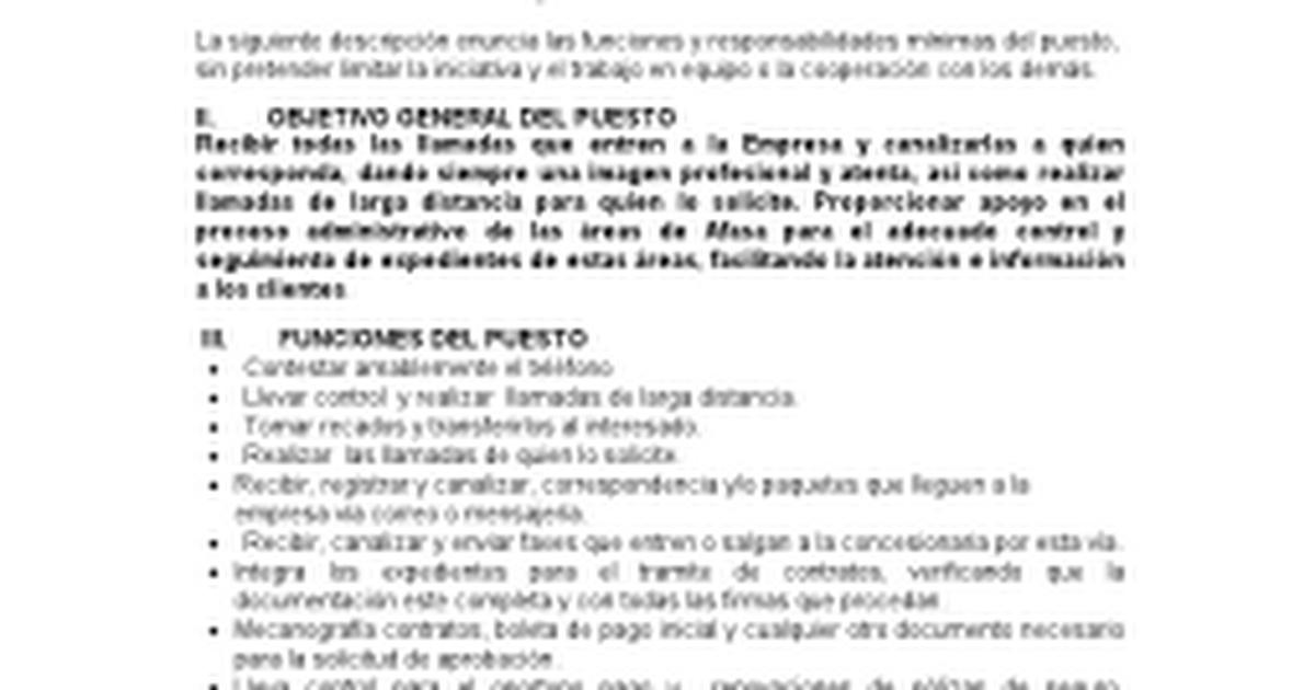 DESCRIPCION DE PUESTO RECEPCIONISTA.docx - Google Docs