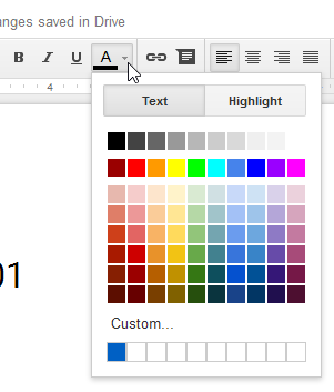 Clicking the Text color drop-down arrow