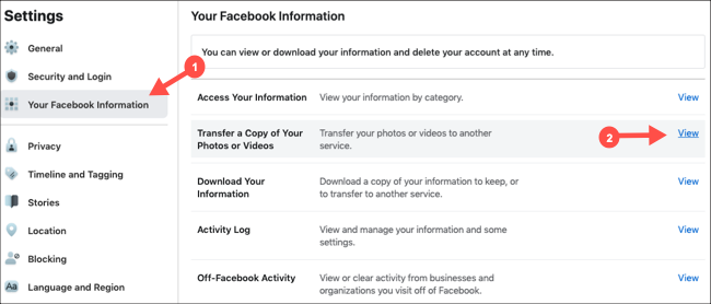 Select Transfer Copy of Pictures and Videos in Facebook settings