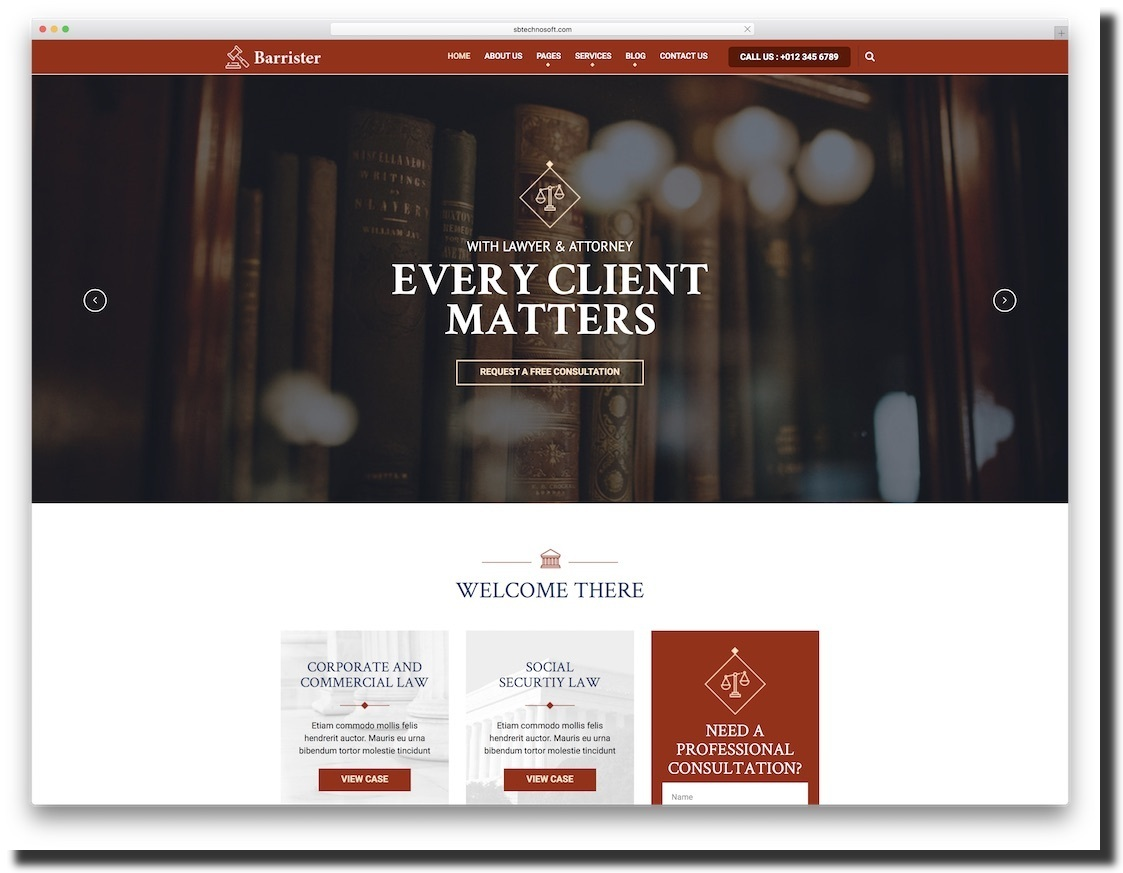 law firm website template Barrister