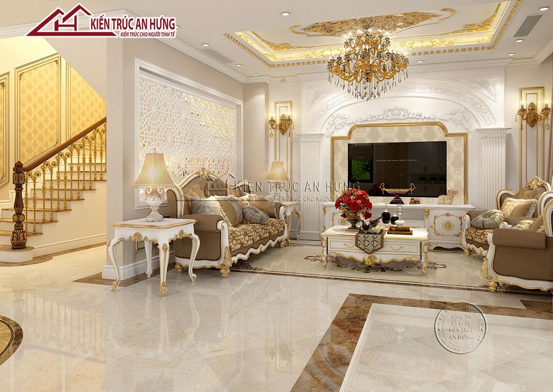 Mẫu nội thất phòng khách kiến trúc tân cổ điển vô cùng sang trọng với các chi tiết trang trí nhẹ nhàng tinh tế