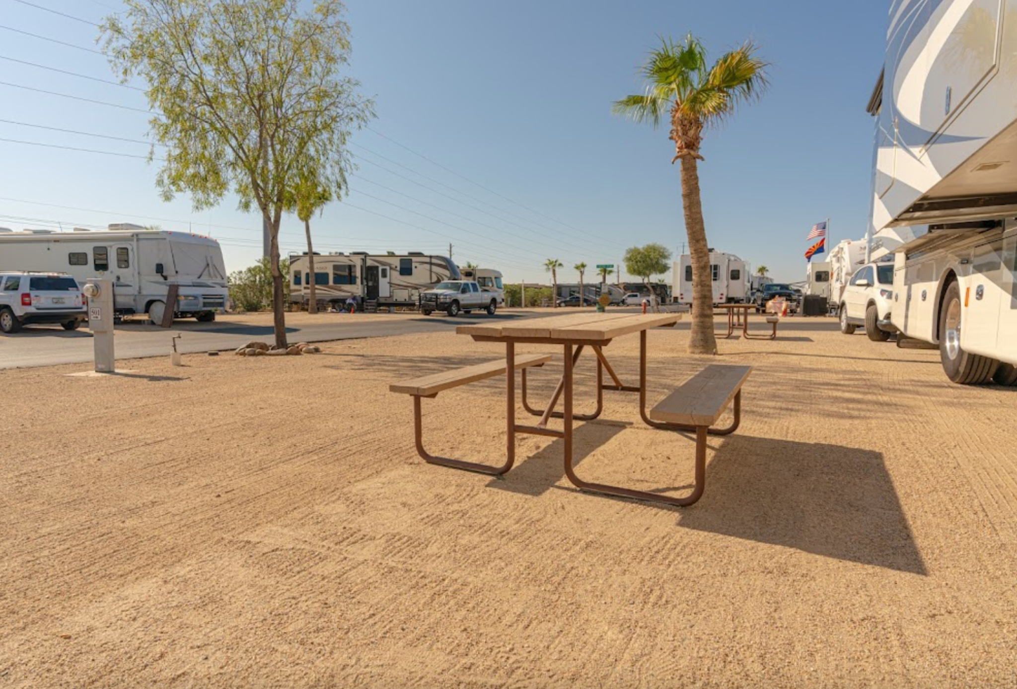 RV resort with picnic table, RVs, and palm trees.
