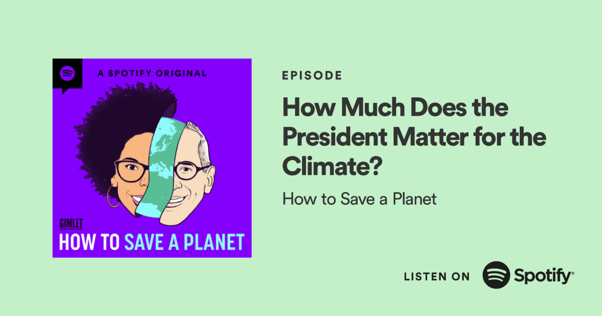 Title of episode with the show's branded illustration of hosts Dr. Ayana Elizabeth Johnson and Alex Blumberg separated by a sliver of planet Earth. Image is hyperlinked to respective Spotify episode page.