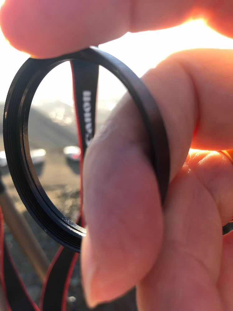 Oops, don't put your finger through the mylar solar filter while putting it back on (Source: Palmia Observatory)