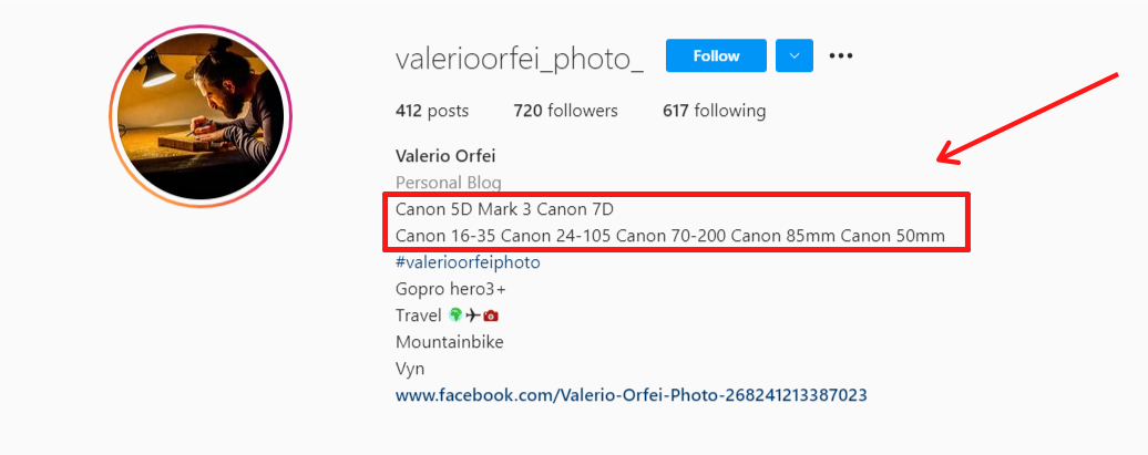 Instagram bio of a professional photographer that will help us find their email.