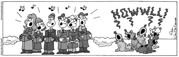 dogs howling with carolers