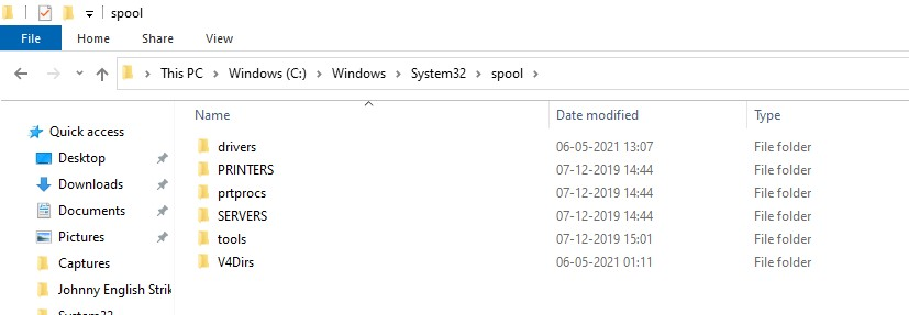 Spool Directory in File Explorer