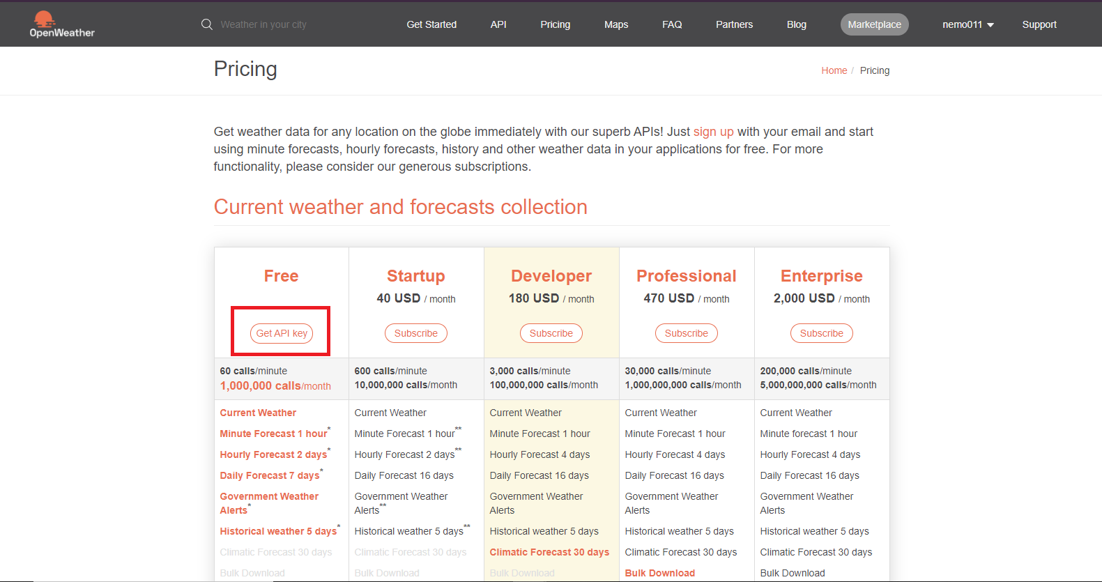 use weather API for data