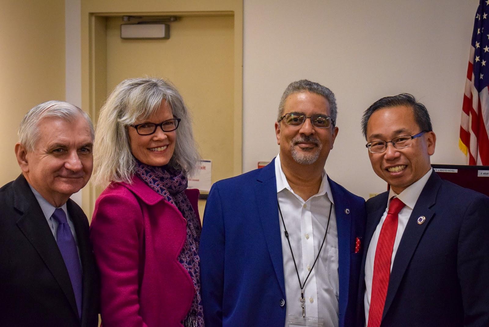 Senator Reed, Dr. Matthew, CPL Director Ed Garcia, and Cranston Mayor Allan Fung