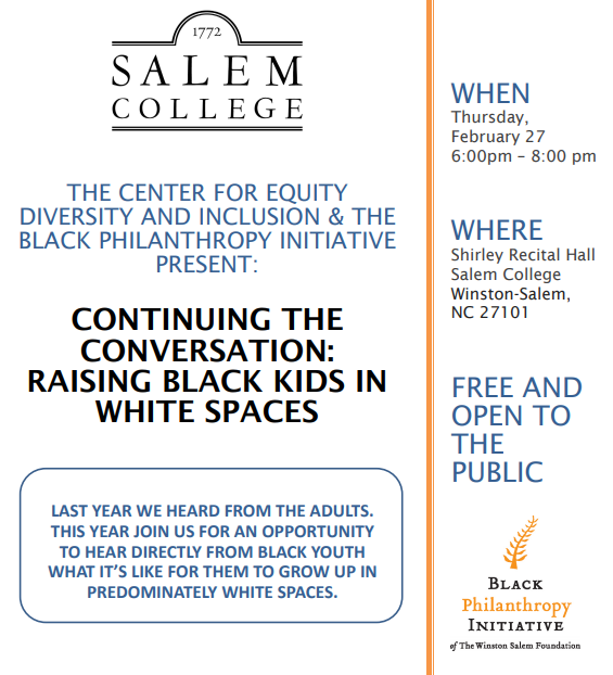 RAISING BLACK KIDS IN WHITE SPACES Flyer