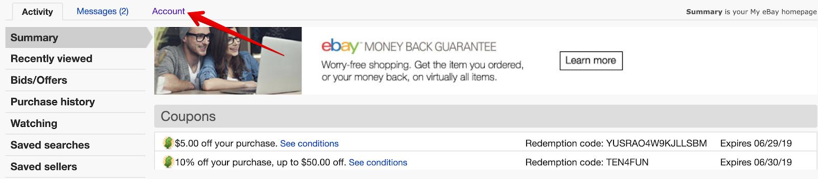 eBay account button location