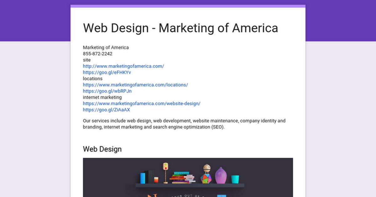 Web Design - Marketing of America