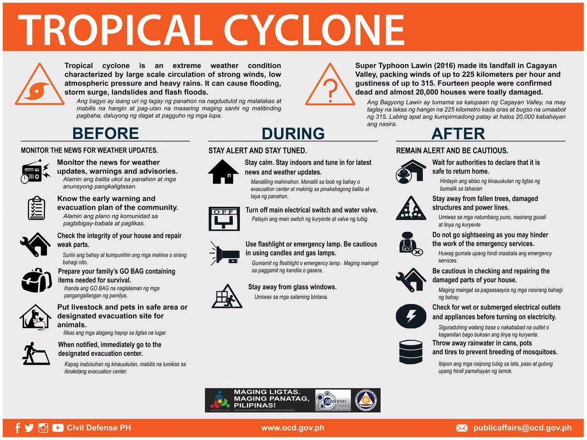 """on Twitter: """"Prepare for tropical cyclones and heavy rains. Monitor weather  news and updates. Follow evacuation orders. #ResiliencePH Please share.…  https://t.co/tGaBJ0Od47"""""""