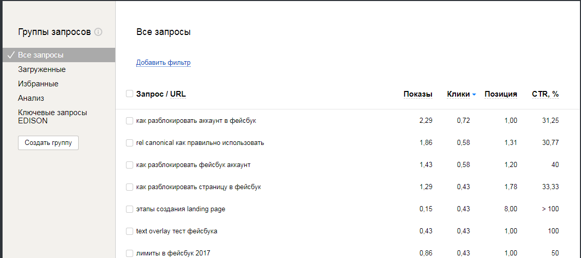 Последние запросы в Яндекс Вебмастере