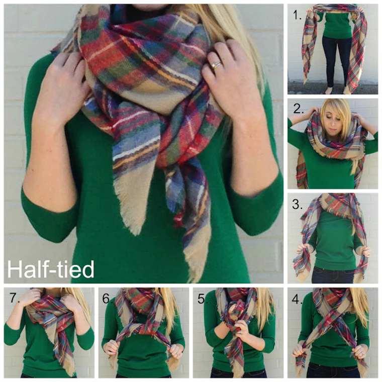 how to wear a blanket scarf tutorial