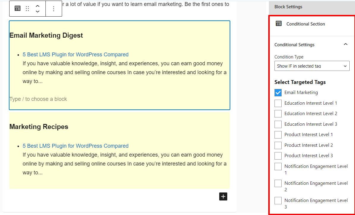 fluentcrm conditional content