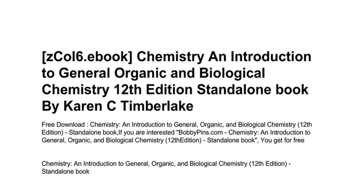 Chemistry an introduction to general organic and biological chemistry an introduction to general organic and biological chemistry 12th edition standalone bookc google drive fandeluxe Images