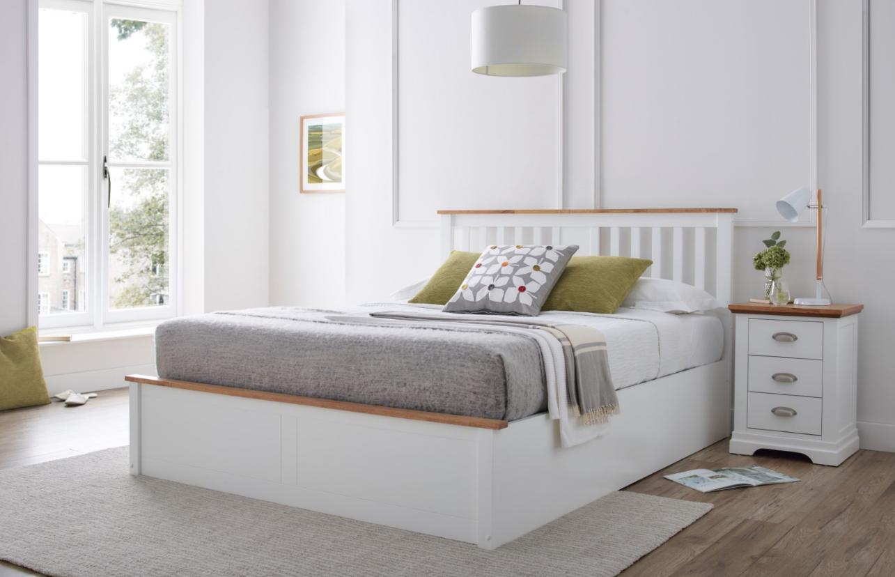 verona white ottoman bed