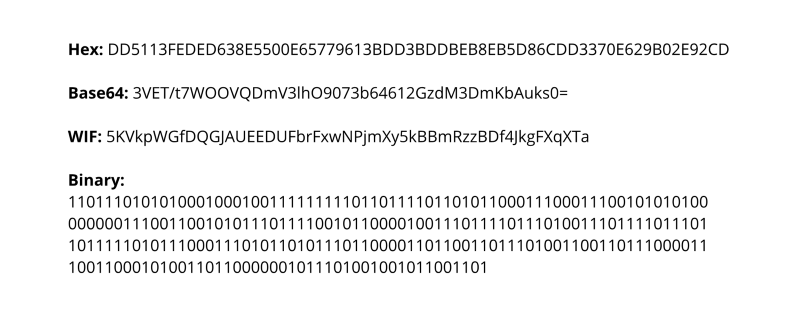 Examples of Bitcoin private keys in different formats