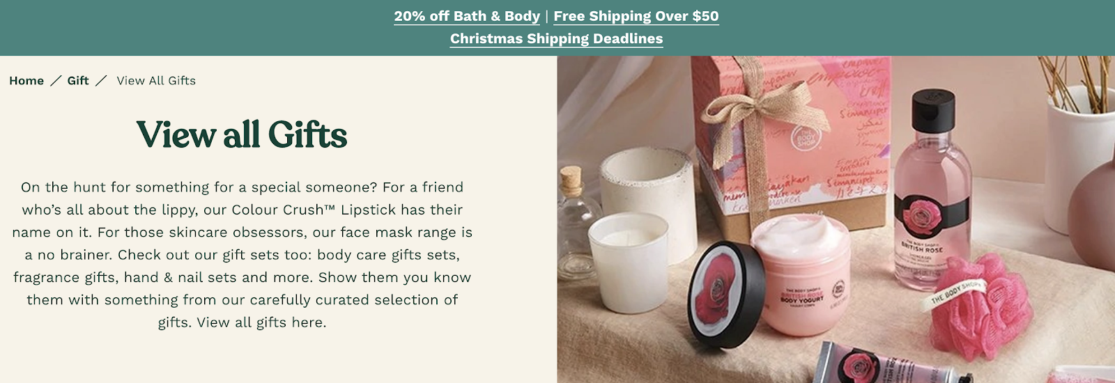 Body Shop's landing page promoting gift ideas.