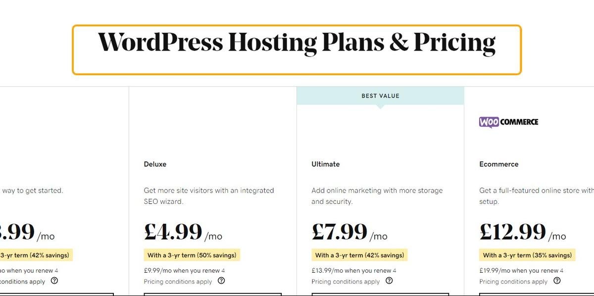 Click on WordPress Hosting Plans & Pricing