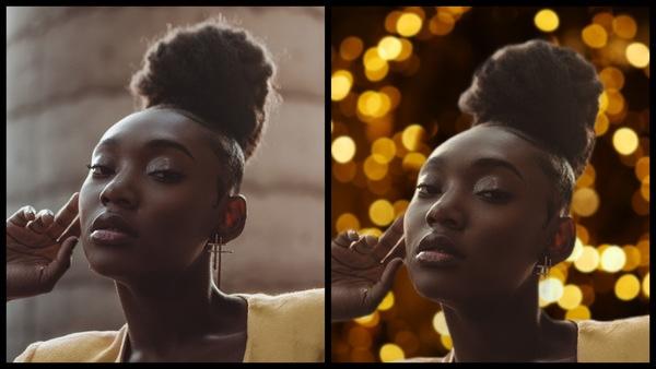 Montagem de uma mulher negra posando mostrando o antes e depois da edição.