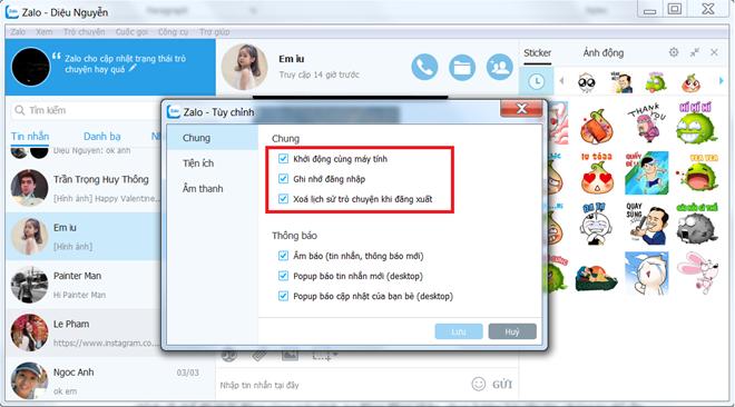Xóa dữ liệu chat trên zalo web