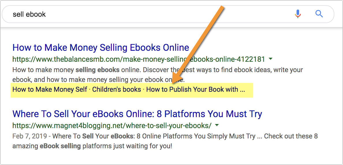 example of mini-sitelinks in search results.