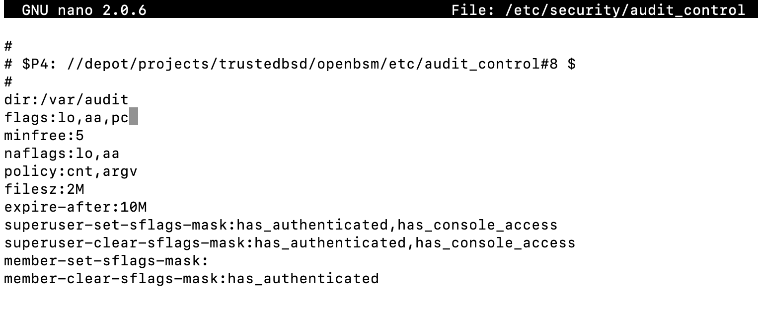 Updating the audit_control flags with 'pc'