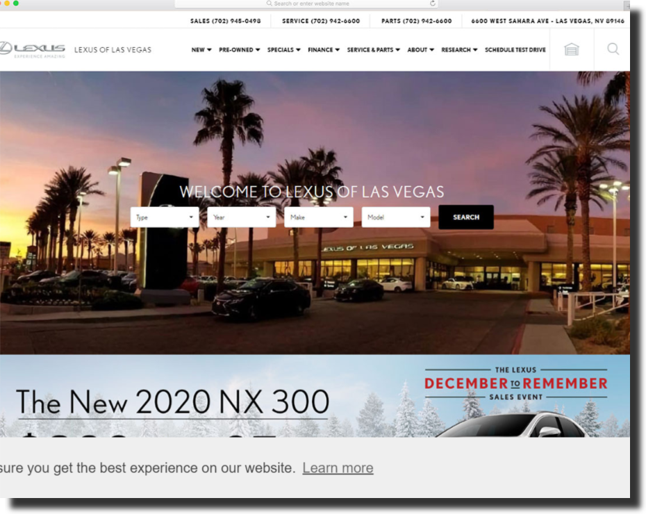 Lexus of Las Vegas car dealer website design
