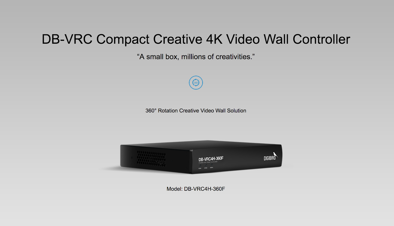 The DigiBird DB-VRC4H-360F is 1×4 HDMI, compact video wall